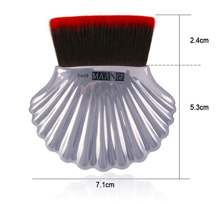 7Pcs Plated Ocean Shell Design Makeup Brushes Set
