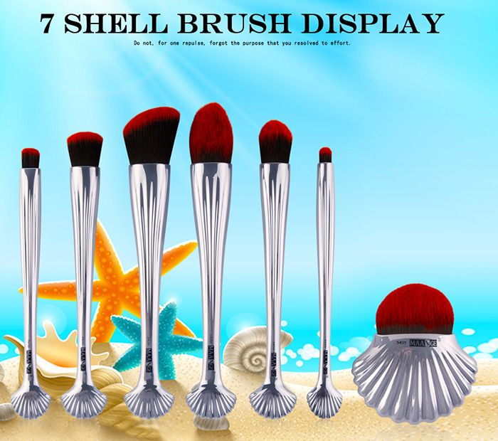 7Pcs Ocean Shell Hadle Plating Makeup Brushes Set