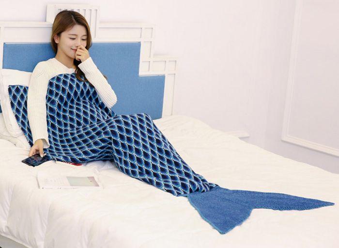 Peacock Pattern Knit Mermaid Tail Blanket