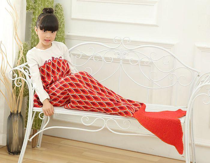 Peacock Pattern Knitted Mermaid Blanket For Kids