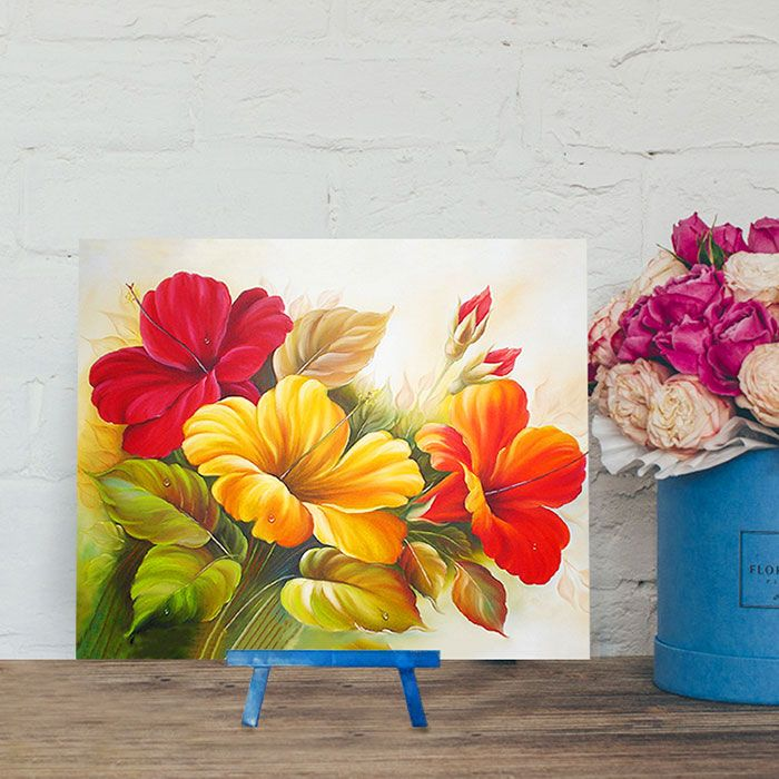 Chinese Hibiscus DIY 5D Resin Diamond Paperboard Painting