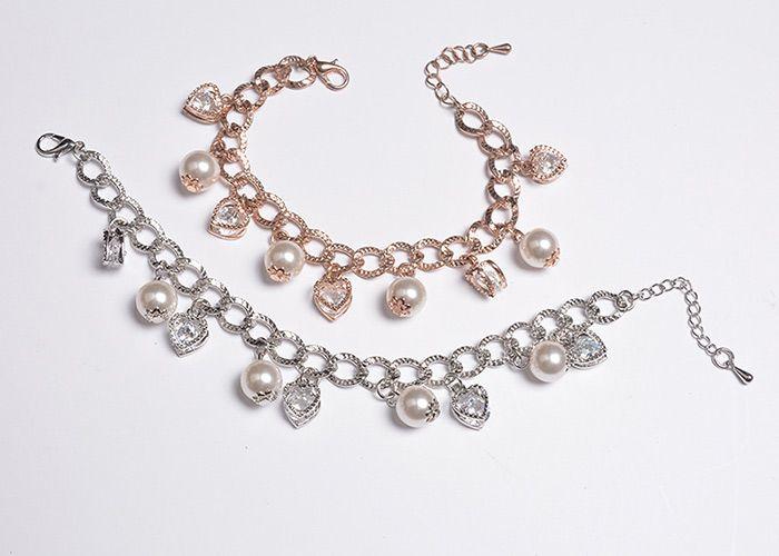 Rhinestones Heart Faux Pearl Charm Bracelet