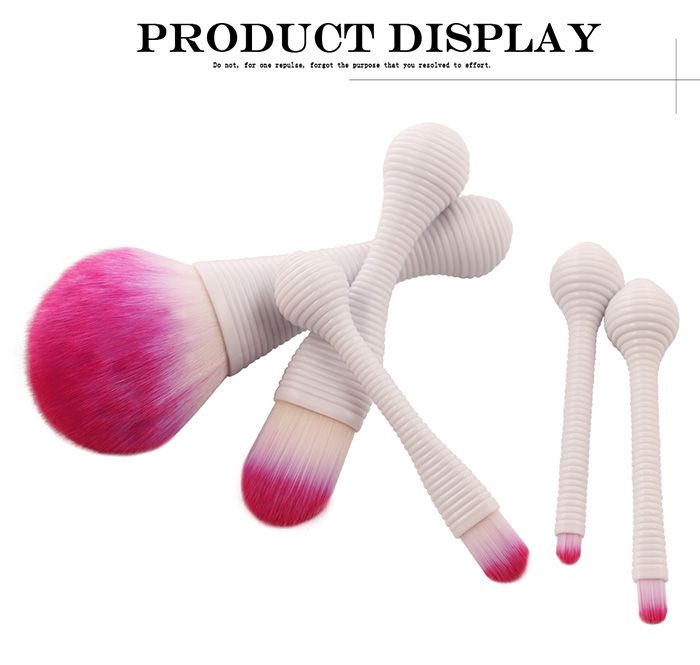 5Pcs Lollipop Design Ombre Hair Makeup Brushes Set