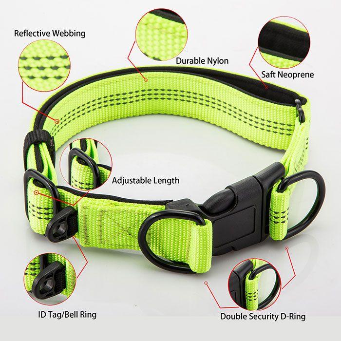 Reflective Webbing Nylon Adjustable Dog Collar