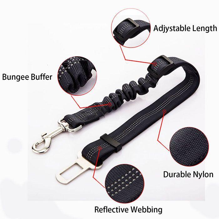 Adjustable Reflective Buffer Dog Car Safety Seat Belt Rope
