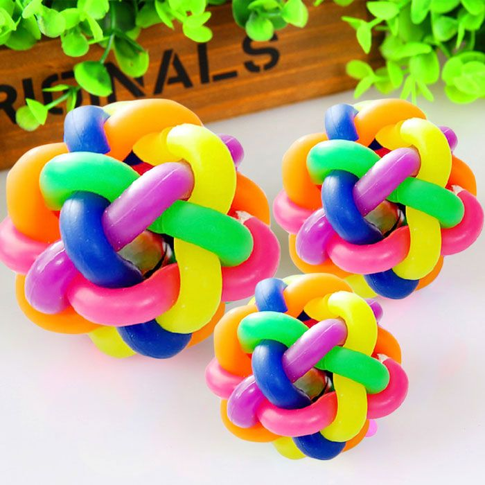 Puppy Pet Toy Woven Rainbow Color Rubber Bell Ball