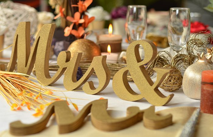Wedding Decorations Wooden Glitter Mr And Mrs
