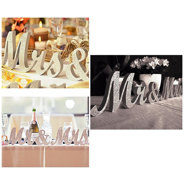 Wedding Decorations Glitter Powder Wooden Mr And Mrs