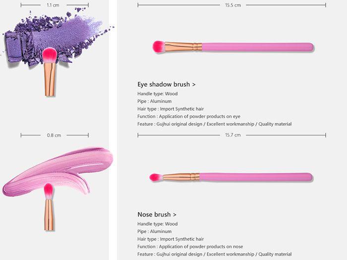 12 Pieces Two Tones Hair Makeup Brushes Set