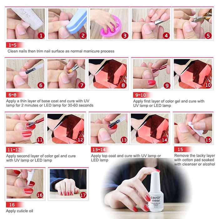 Elite99 6Pcs Polish UV LED Soak Off Gel Nail Set