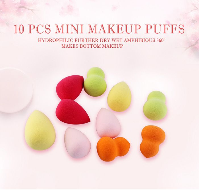 10Pcs Multifunctional Makeup Powder Blenders with Box