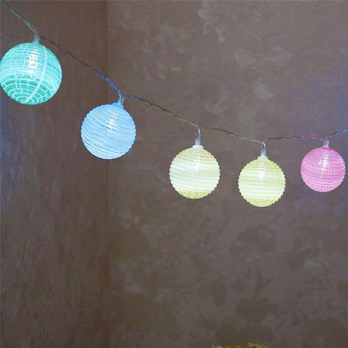 LED Colorful Cracked Ball Shape String Lights
