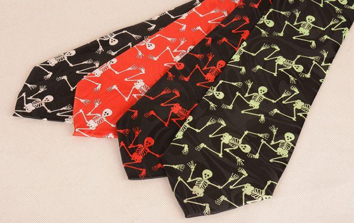 Halloween Skeleton Pattern 10CM Width Neck Tie