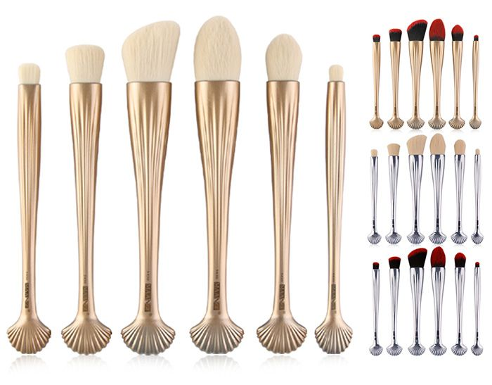 6Pcs Multipurpose Plating Shell Facial Makeup Brushes