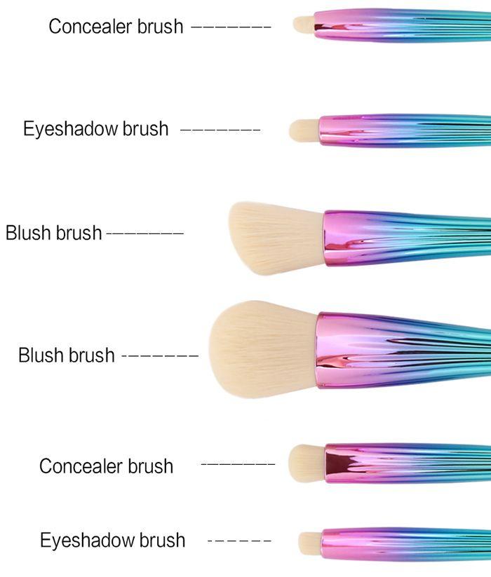 6Pcs Plated Shell Facial Eye Makeup Brushes Set