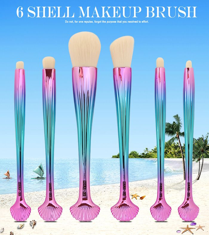 6Pcs Plated Shell Facial Eye Makeup Brushes Set