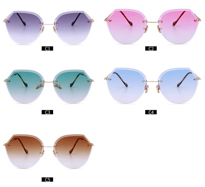 Ombre Lens Panel Metallic Legs Rimless Sunglasses