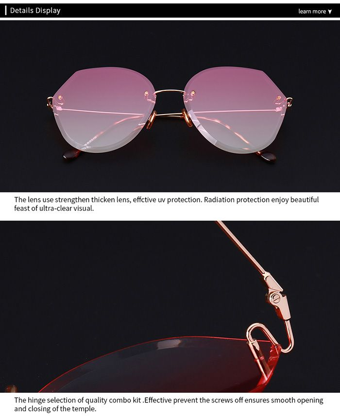 Ombre Lens Panel Metallic Legs Rimless Sunglasses