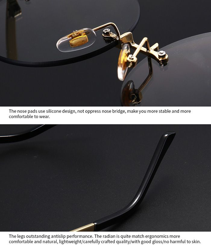 Rounded Jelly Lens Rimless Sunglasses