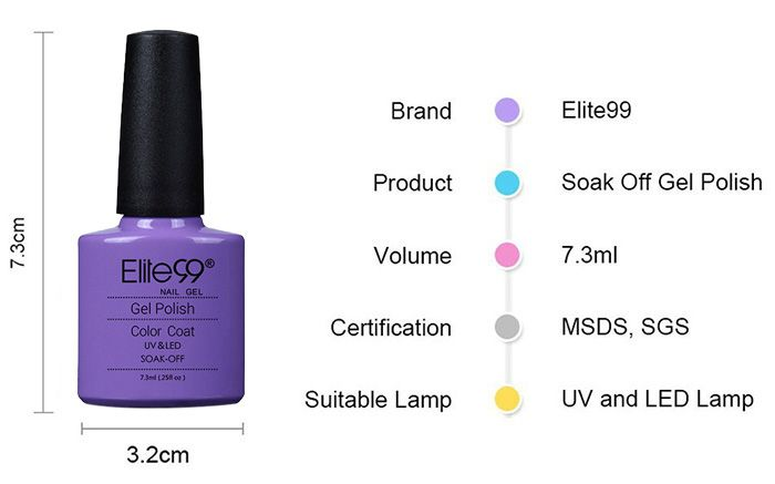 Elite99 UV Soak Off Shellac Gel Nail Polish