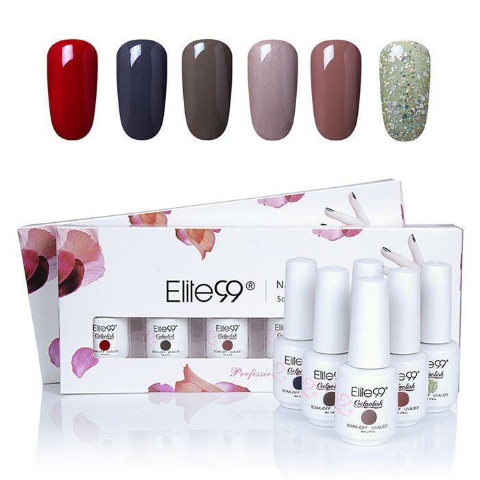 6 Colors Soak Off Elite99 Gel Polish Lacquer UV LED Nail Set