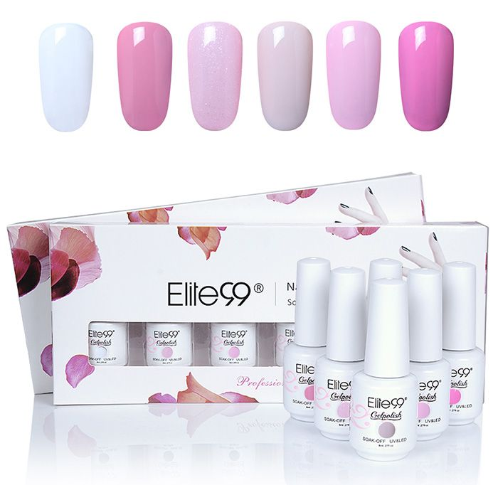 Elite99 6PCS Polish UV LED Soak Off Gel Nail Art Set