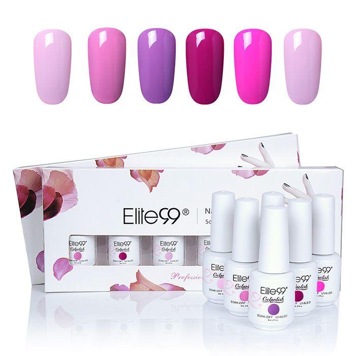 6 Colors UV LED Soak Off Elite99 Gel Polish Nail Art Set