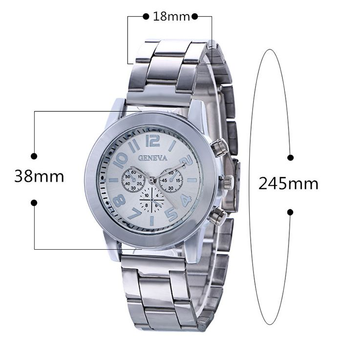 Steel Strap Number Analog Watch