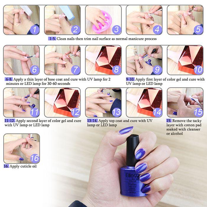 Elite99 Soak-Off UV LED 15ml Gel Polish Nail Art Glitter Clear