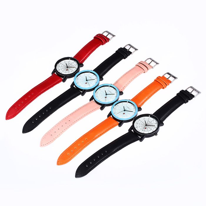 Faux Leather Strap Spider Web Face Watch