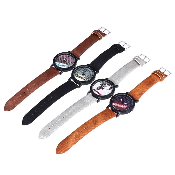 Faux Leather Strap Brick Wall Face Watch