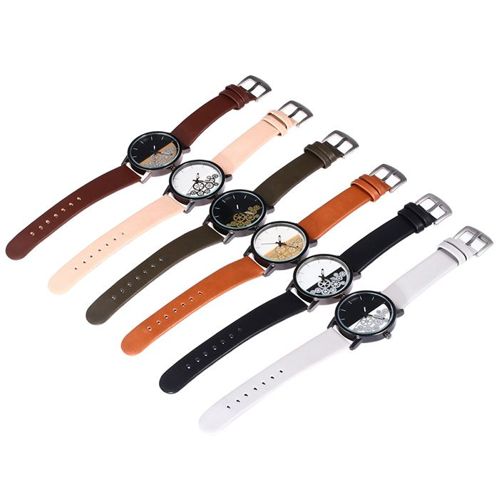 Gear Pattern Face Faux Leather Strap Watch