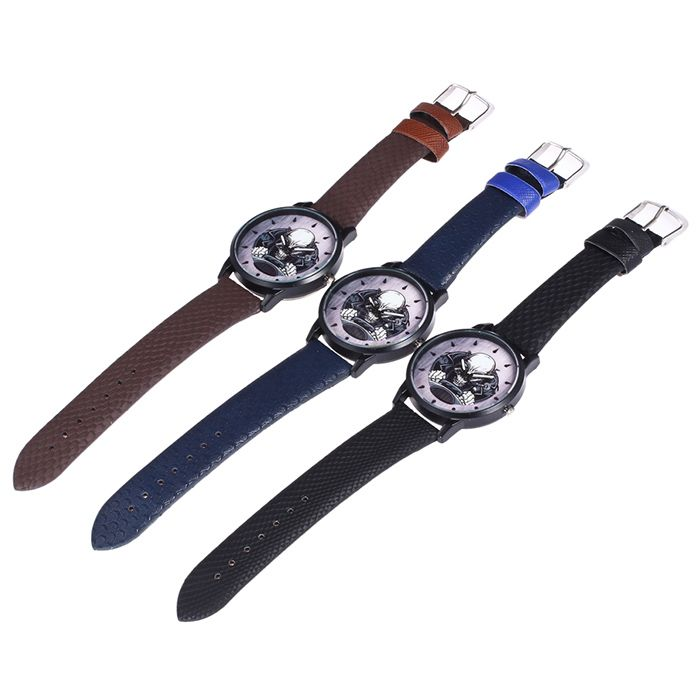 Faux Leather Strap Driving Skeleton Face Watch