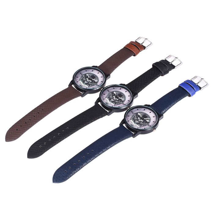 Faux Leather Strap Gun Skull Face Watch