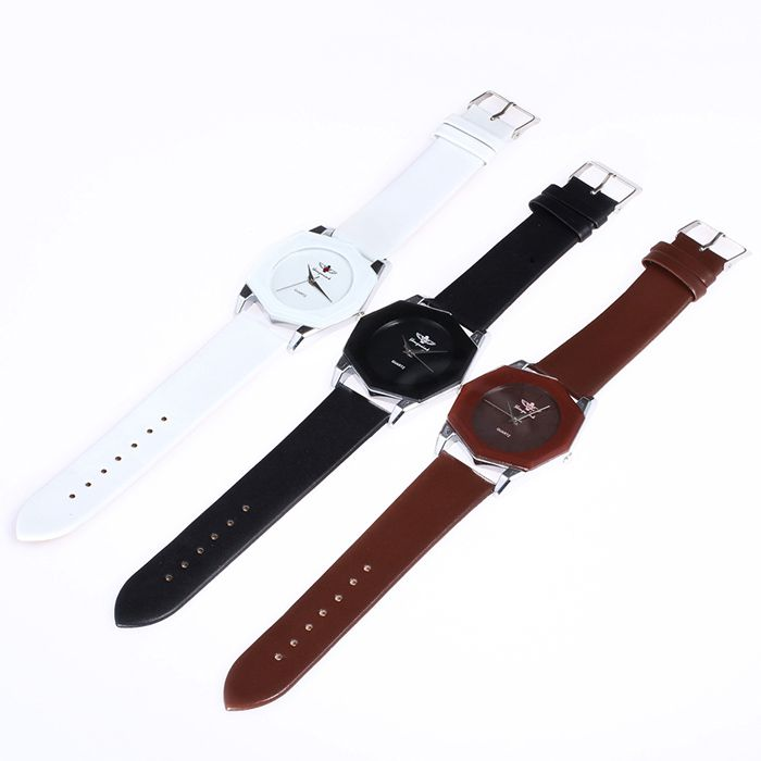 Faux Leather Strap Octagon Quartz Watch