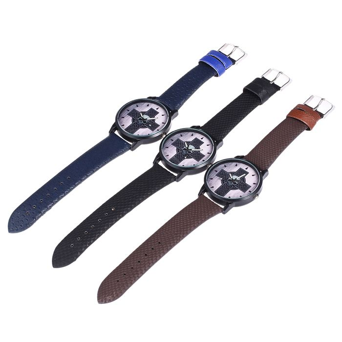 Cross Skull Face Faux Leather Watch