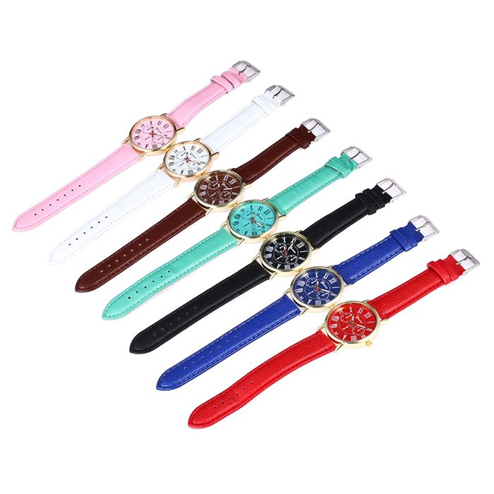 Faux Leather Strap Roman Numeral Round Watch