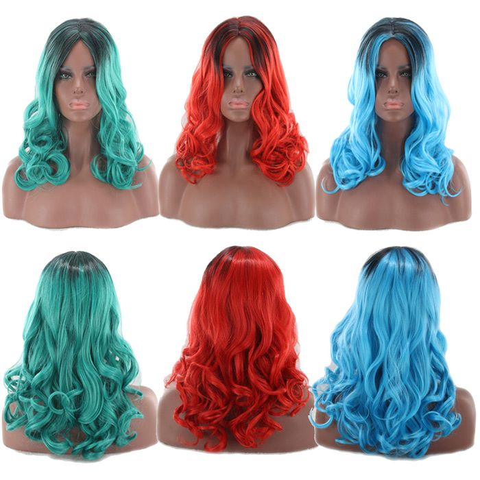 Long Middle Part Shaggy Wavy Colormix Synthetic Wig