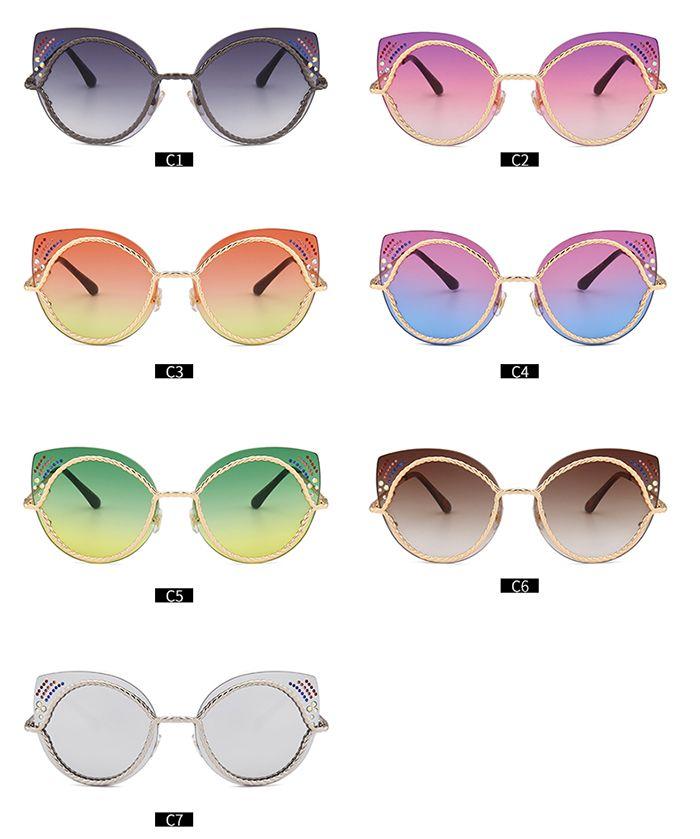 Rhinestones Embellished Cat Eye Mirror Sunglasses