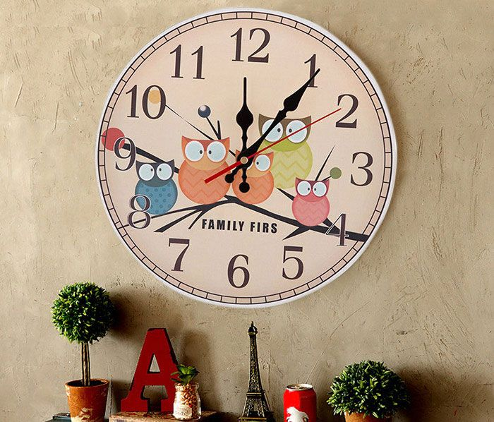 Owl Round Mute Wood Analog Number Wall Clock