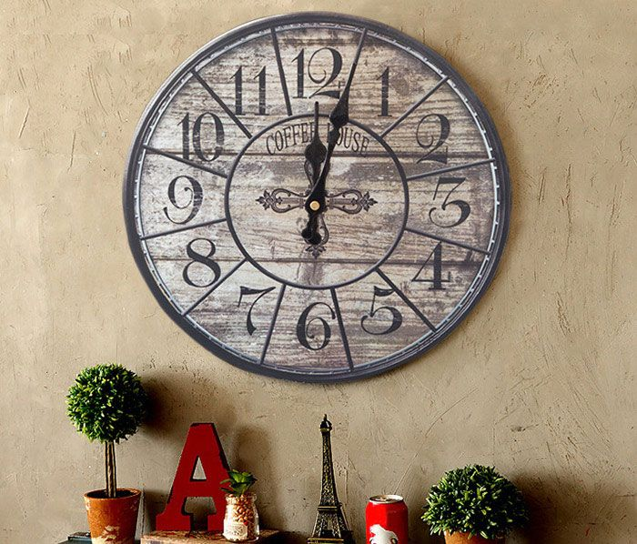 Vintage Analog Mute Wood Round Wall Clock