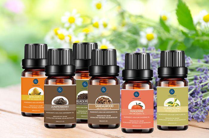 6 Pieces Bergamot Juniperberry Black Pepper Tangerine Ylang Ylang Sandalwood Essential Oil Set