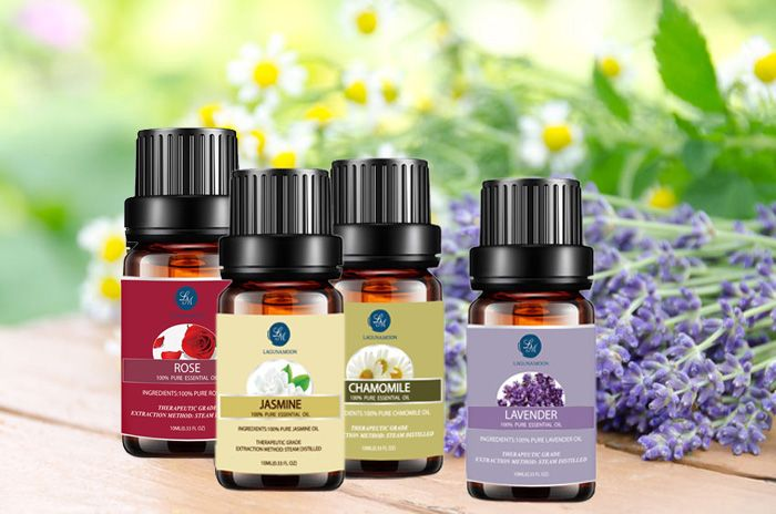 4 Pieces Knit Lavender Rose Chamomile Jasmine Flower Essential Oil