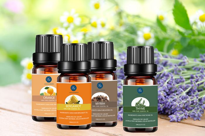 4 Pieces Myrrh Orange Thyme Bergamot Essential Oil