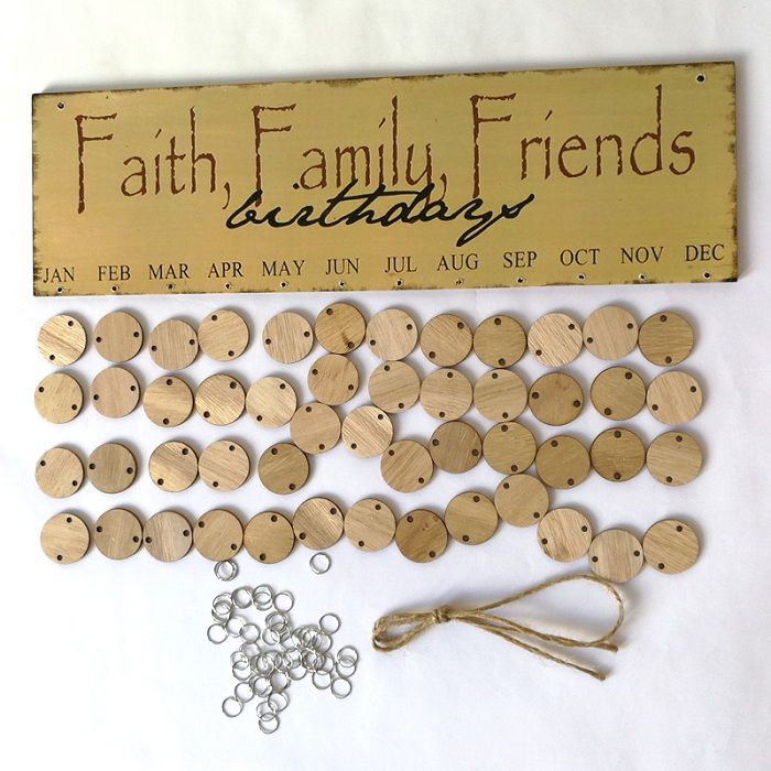 DIY Wooden Faith Family And Friends Birthday Calendar Reminder Board