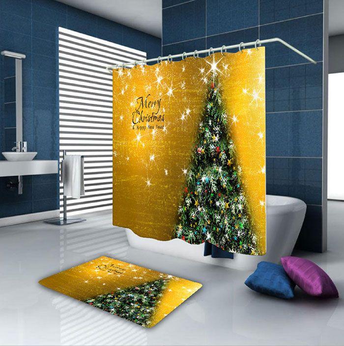 Waterproof Fabric Christmas Tree Bath Curtain