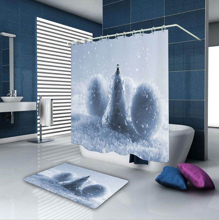 Christmas Snowball Waterproof Shower Curtain