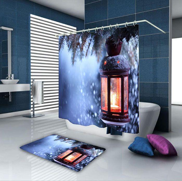 Christmas Candle Waterproof Bath Curtain