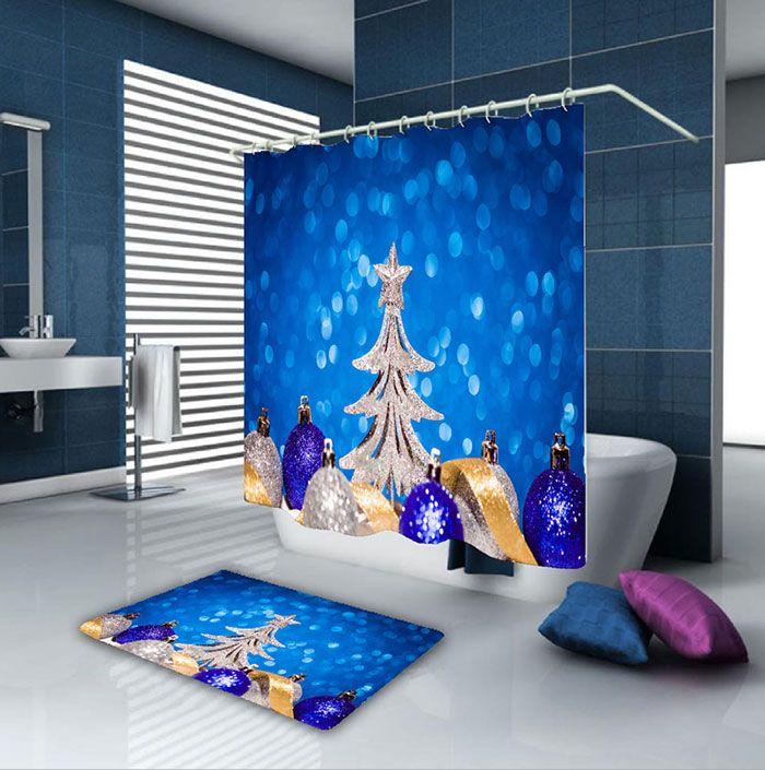 Christmas Balls Tree Waterproof Shower Curtain