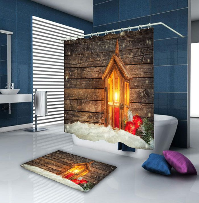 Christmas Candle Wood Waterproof Shower Curtain